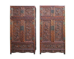 PairChinese Rosewood Relief Foo Dog Carving Compound Tall Cabinets SDC1