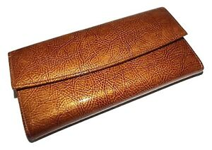 NEW SCULLY WOMEN'S PATENT LEATHER TRIFOLD CHECKBOOK CLUTCH WALLET WITH PEN BROWN