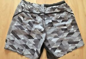 LULULEMON Mens Pace Breaker Shorts w Liner Gray Black Triangle sz XL Run Gym EUC