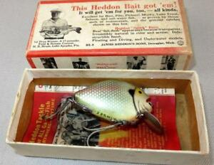 Vintage Antique Tackle Heddon 730 Punkinseed SD Wood Lure In Brush Box