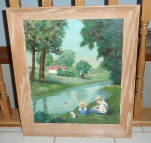 Oil Painting on Canvas Fishing On The River Father And Son Framed Artwork Art