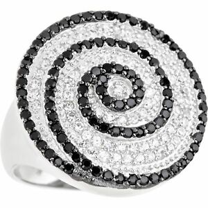 Decadence Sterling Silver Micropave Black and White Swirl Cocktail Ring with