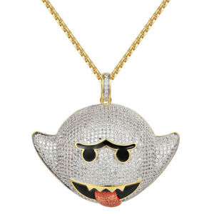 Flying Ghost Emoji Pendant 14k Gold Finish Simulated Diamonds Free Necklace Men
