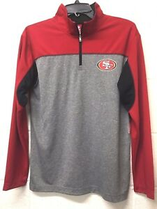 NWT NFL San Fransisco Football Fan Fitted Quarter Zip DryFit Shirt Youth *L