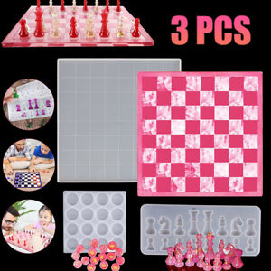 3PCS Set DIY Silicone Resin Chess Board Mold Making Tool Mould Crafting Handmade