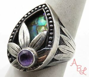 Sterling Silver Vintage 925 Cocktail Abalone & Amethyst Ring Sz 8 (9.5g) 577768