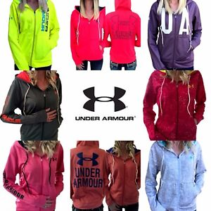 Womens Under Armour Jacket UA ColdGear Logo Full Zip Hoodie S M L XL Pink Black $29.88