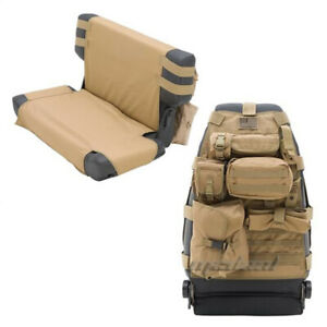 Smittybilt GEAR Tan Seat Cover Front PAIR Overhead Console 76-17 Wrangler