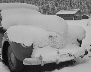 Car covered with snow after blizzard in Aspen Colorado 1941 Photo Print