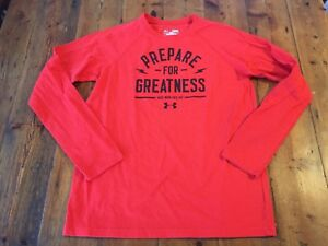 UNDER ARMOUR Boy's Red Prepare for Greatness Heatgear T Shirt- Sz Large- Ret $35