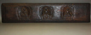 Rare Nice 14th Century Old Antique Tibet Wooden Buddha Statue Sutra Cover Museum
