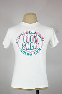 vintage Golds gym t-shirt S to M 100% sweat 80's weightlifting new