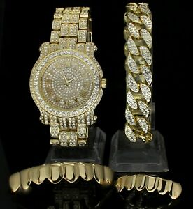 Iced Out 4 pc Set 14k Gold Plated Hip Hop Cuban Bracelet Rapper Watch + Grillz