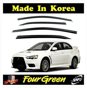 Vent Shade Window Visors Rain Guards Deflectors 4DR for 07 15 Mitsubishi Lancer