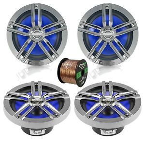 4x 6.5 Water Resistant Speakers Charcoal 16 G 50 Ft Wire $93.99