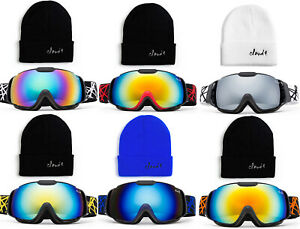 Kids Ski Goggle with Beanie Combo Pack Dual Lens Anti Fog PC Lens for Girls Boys