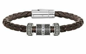 Swarovski Diagonal Bracelet LeatherM Brown Men's Jet Crystal Authentic 5159626