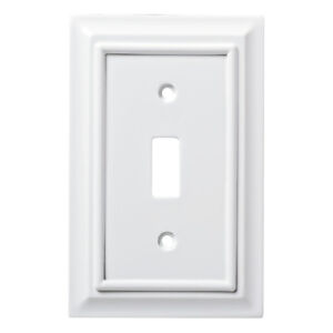 BRAINERD ARCHITECTURAL WHITE WOOD SINGLE TOGGLE SWITCH PLATE
