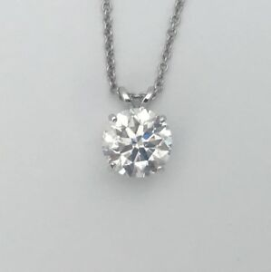 0.85 Carat D SI1 REAL NATURAL DIAMOND SOLITAIRE PENDANT NECKLACE 14K WHITE GOLD