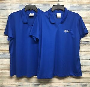 Nike Golf Womens Sz XL Blue V Knock Polo Shirt  Dri Fit Top. Lot Of 2       A-40