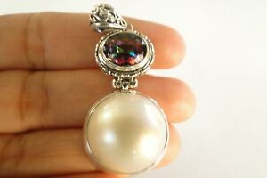 White Mabe Pearl Mystic Topaz 925 Sterling Silver Pendant