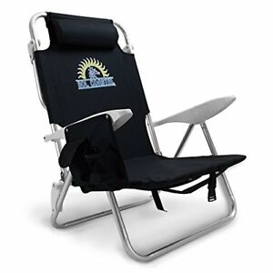 4-Position Lay Flat Beach Chair with Carry Straps & Storage Pouch