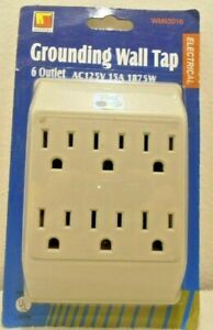 6 WAY PLUG ADAPTOR 15 AMP 125 VOLT INDOOR POWER SOCKET GROUNDED UL WALL TAP