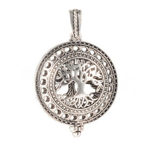 10 x Antique Silver Magnetic Alloy Diffuser Flat Round with Tree Locket Pendants $17.19