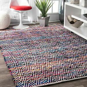 nuLOOM Hand Made Contemporary Striped Cotton Blend Area Rug in Pink Red Blue