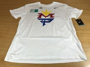 NIKE MANNY PACQUIAO TEAM LOGO DRI-FIT GRAPHIC TEE WHITE BLUE RED YELLOW XL NWT