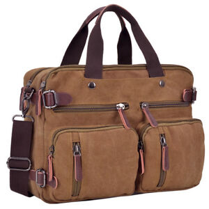New Men's Canvas Faux Leather Briefcase Large Shoulder Bag Messenger Bag Satchel
