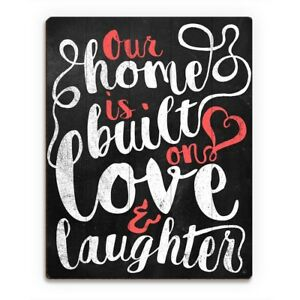 'Our Home is Built on Love' Red Wood Wall Art