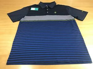 NIKE GOLF LOGO STRIPED DRI-FIT BUTTON POLO T-SHIRT DARK GRAY BLUE VOLT MEN LARGE