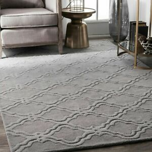 nuLOOM Hand Made Solid Geometric Trellis Wool Area Rug in Grey