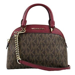 New Authentic Michael Kors EMMY Brown Logo Small Dome Satchel Crossbody Purse