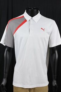 Puma Sport Lifestyle Mens White Red Dry Cell Golf Polo Shirt Size XL