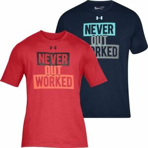 UNDER ARMOUR MENS UA CHARGED COTTON NEVER OUT WORKED SS SPORTS TOP T-SHIRT
