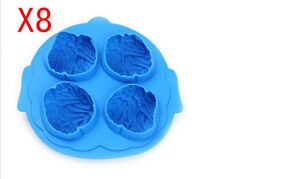 Simple Creative Round Shape Lovely Plastic Ice Box Ice Cube Molds Blue 8 Pieces