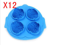 Simple Creative Round Shape Lovely Plastic Ice Box Ice Cube Molds Blue 12 Pieces