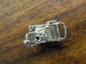 Vintage silver MOVABLE ANTIQUE CAMERA PHOTO LOCKET PENDANT BRACELET charm RARE