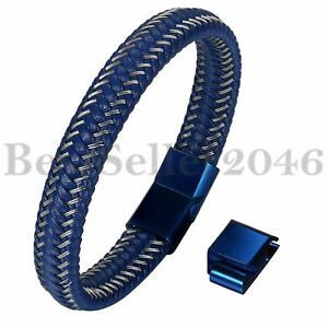 Men Blue Braided Leather Stainless Steel Magnetic Clasp Size Adjustable Bracelet $11.27