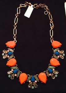 JCrew Store Orange Blue Pear Green Stone Necklace With Jewelry Bag