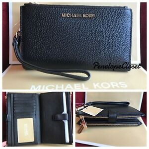 NWT MICHAEL KORS LEATHER JET SET TRAVEL DOUBLE ZIP WALLET WRISTLET IN BLACK