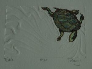 Original Signed amp; Numbered Intaglio Etching quot;Turtlequot; by Rosey Rosenthal $65.00