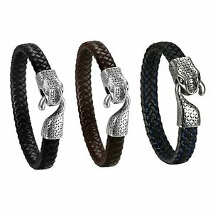 Mens Leather Braided Bracelet Stainless Steel Snake Head Hook Clasp Punk Bangle