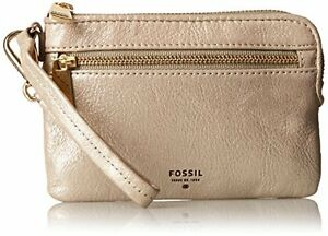 NEW FOSSIL WOMEN'S LEATHER LZIP WRISTLET CREDIT CARD WALLET CHAMPAGNE