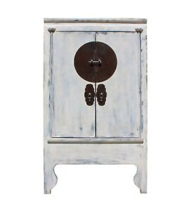 Chinese Distressed Off White Tall Wedding Armoire Wardrobe TV Cabinet cs3906