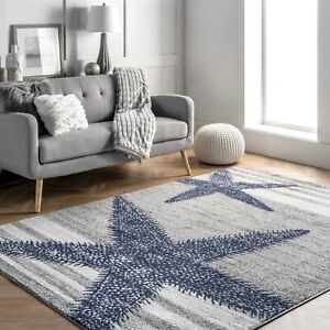 nuLOOM Thomas Paul Modern Coastal Starfish Stripes Area Rug in Grey and Ivory
