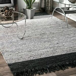 nuLOOM Contemporary Modern Leather Cotton Blend Area Rug in Black Silver Grey $70.99