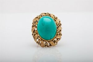 Antique 1940s $5000 40ct Natural Turquoise 14k Yellow Gold LEAF Ring 20g HEAVY